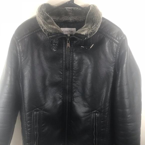 0d51310c6077 Calvin Klein Jackets & Coats | Mens Pebbled Faux Shearling Jacket ...